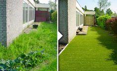 Kunstgras het hele jaar mooi groen, situatie voor en na!