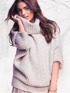 cozy chevron cowl-neck sweater