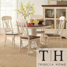 TRIBECCA HOME Mackenzie 5-piece Country Antique White Dining Set   Overstock.com Shopping - Big Discounts on Tribecca Home Dining Sets