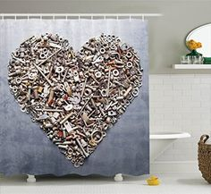 Nuts And Bolts In Heart Shape Construction Engineering Equipments Rustic Art Polyester Fabric Bathroom Shower Curtain 75 Inches Long Metallic Silver