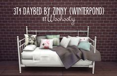 """woohooty: """" 3T4 DAYBED BY ZINNY {WINTERPOND} CONVERTED BY WOOHOOTY - this was one of my favorite CC's from ts3 so i converted it. I have no idea what happened to the lights but they work. The pillow..."""