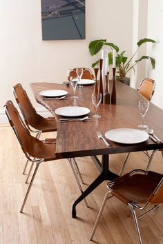 wood table with chairs by Charlotte Perriand for Les Arcs ski lodge