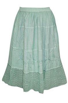 fea353dd28 Mogul Interior Womens Boho Skirt A -Line Sea Green Embroidered Festive Mid  Length Skirts