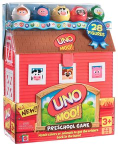 - The farm animals have come out of their barn to play UNO - Round them up by matching colors or animals - The first player to get all of their figures back in the barn wins - Includes 1 Play-and-Stor