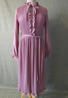 Dusty Pink Permanent Pleat Dress  1970s by LouisaAmeliaJane, $32.00
