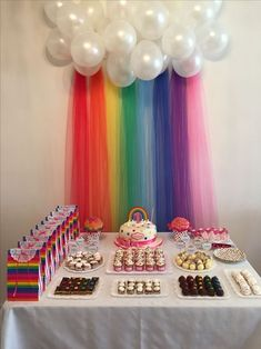Bday Dekoration - -You can find Rainbow birthday and more on our website. Trolls Birthday Party, Unicorn Birthday Parties, Birthday Party Decorations, My Little Pony Birthday Party, Rainbow Party Decorations, Rainbow Party Themes, Birthday Themes For Kids, 5th Birthday Party Ideas, Ideas Party