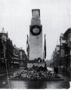 """The Cenotaph, originally built in 1919 for the first anniversary of the Armistice, was actually intended as a temporary monument....Sir Edwin Lutyens was asked to rebuild it in Portland stone for the following year. All religious imagery was avoided & it was simply inscribed with the words ""The Glorious Dead"". It was once calculated that if the British dead from World War One had marched by the Cenotaph four abreast. it would have taken them three and a half days to march by..."""