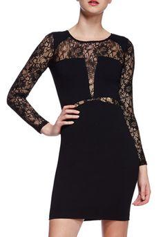 JF Loretta Bodycon - Dieses Kleid schreit förmlich va-va-Voom! Das perfekte Abendkleid! An den Ärmeln wunderschöne Spitzeneinsätze. Long Sleeve und Reißverschluss auf der Rückseite