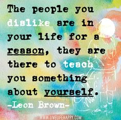 The people you dislike are in your life for a reason, they are there to teach you something about yourself. - Leon Brown