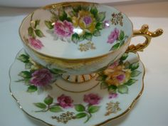 Castle Japan TEA CUP AND Saucer Pink AND Yellow Roses Brushed Gold Pedestal