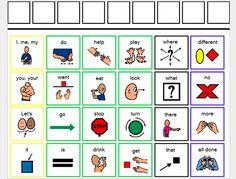 sync up autism: core words--- this blogger has lots of variations on this core words board, with different fringe words on the top strip for different activities: angry birds, toca hair salon, candy land, and more!
