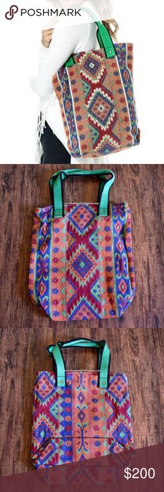ETHNIC TOTE Diamond Tapestry Shoulder Big Boho Bag One Size.  New in packaging.   • Beautiful shoulder bag featuring ethnic inspired detailing & an effortless, laid-back vibe.  • The perfect travel companion, this vibrant tote is large enough for all your necessities.  • Interior is fully lined with one slip pocket & snap closure at top.  • Measurements provided in comment(s) section below.   {Southern Girl Fashion - Boutique Policy}   ✔️ Same-Business-Day Shipping (10am CT). ✔️ Price shown…