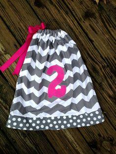 Chevron Birthday Pillow Case dress by Madebyjoli on Etsy, $22.00    @Dea Dea Wilson I like the polka dots at the bottom.