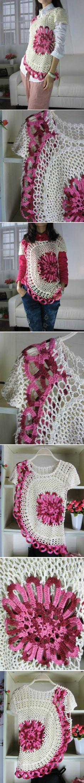 Blusa de verão assimétrica em crochê
