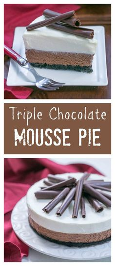 Triple Chocolate Mousse Pie | An exquisite dessert with a chocolate cookie crust, chocolate and white chocolate mousse and chocolate curls! /lizzydo/