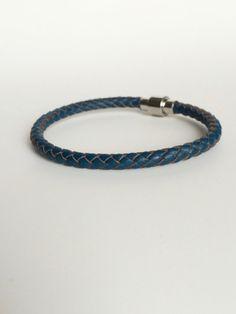Prussian Blue Braided Leather Bracelet Magnet Clasp - Denim Blue...