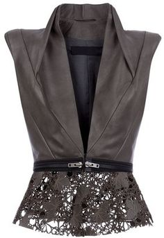 Leather and Lace Peplum Haider Ackermann Leather gilet Mode Chic, Mode Style, Style Me, Fashion Details, Love Fashion, Womens Fashion, Fashion Design, Leather And Lace, Brown Leather