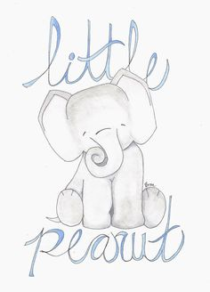 Elephant nursery decor. Little Peanut 8x10 watercolor