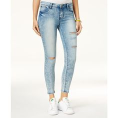 Body Sculpt by Celebrity Pink Juniors' Super Slimmer Slim Your Thigh... ($49) ❤ liked on Polyvore featuring jeans, kitty, ripped jeans, slim fit jeans, distressed skinny jeans, white destroyed jeans and destroyed skinny jeans