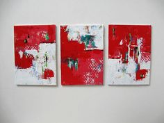 Set of 3 red acrylic abstract paintings on canvas by BrookeHowie