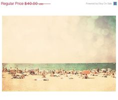 beach ocean retro travel photo print - whimsical fine art photography, people, dream, nostalgia, cream, yellow, mint - 14x11