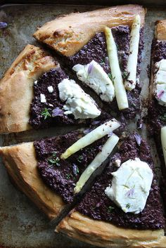 Olive Tapenade, White Asparagus and Goat Cheese Pizza from Heather Christo