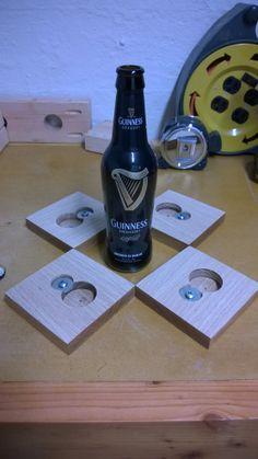Coaster with a built in bottle opener underneath! Genius! | Craft | Pinterest | Bottle