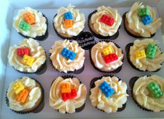 Lego Brick Cupcakes from The Manchester Cakehouse! Prices start from £1.50 per cupcake! www.themanchestercakehouse.co.uk