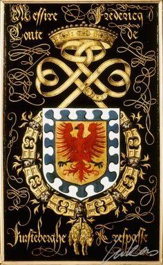 """(200) Frédéric, comte de FURSTENBERG (1496-1559) -- """"Messire Fredericq, conte de Furste(m)berghe. Trespasse"""" -- Armorial plate from the Order of the Golden Fleece, 1559, Saint Bavo Cathedral, Gent -- Panneau de trépassé."""