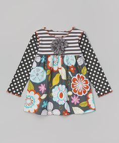 Gray Crazy Flower Swing Top - Toddler & Girls