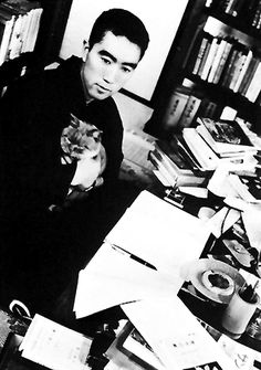 Yukio Mishima and samurai kitty.  三島 由紀夫  wasa Japanese author, poet, playwright, actor and film director. Nominated three times for the Nobel Prize in Literature, Mishima was internationally famous and is considered one of the most important Japanese authors of the 20th century. His avant-garde work displayed a blending of modern and traditional aesthetics that broke cultural boundaries, with a focus on sexuality, death, and political change.
