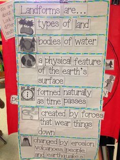 9 Must Make Anchor Charts for Social Studies – Mrs. Richardson's Class Landforms Anchor Chart for Kindergarten 9 Must Make Anchor Charts for Social Studies – Mrs. Richardson's Class Landforms Anchor Chart for Kindergarten 3rd Grade Social Studies, Kindergarten Social Studies, Social Studies Activities, Kindergarten Science, Teaching Social Studies, Elementary Science, Student Teaching, Science Classroom, Teaching Science
