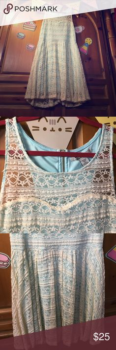 American Rag Cie light blue lace dress American Rag light blue lace dress worn for a Jem outfit at comiccon. Cream/off white lace and light blue built in slip. Heart shaped bust line and see through lace in cleavage area. American Rag Dresses