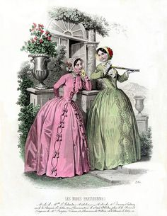 Vintage French Fashion Plate! 1840s.