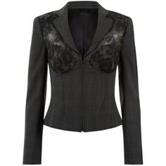 La Perla Essentials Grey Prince Of Wales Check Corset Jacket With... ($2,345) ❤ liked on Polyvore featuring outerwear, jackets, grey, floral jacket, floral-print bomber jackets, lace jacket, grey jacket and checkered jacket