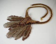 "Beadweaving: Bronze & Copper Necklace with Beadwoven ""Feather"" Pendant."