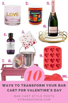 Sorry, we're going full throttle hot pink and hearts this year for Valentine's Day. First, yes reader, you really can have a pink bar cart. Valentine's Day Drinks, Pink Drinks, Pink Bar, Bar Cart Styling, Cocktail Making, Bar Accessories, Bar Tools, Cool Bars, Bars For Home