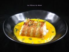 Cod back in bacon crust and butternut puree Les Délices de Mimm Diner Recipes, Meat Recipes, Cooking Recipes, Healthy Recipes, Low Carb Diets, Shellfish Recipes, Weird Food, Fish Dishes, I Foods
