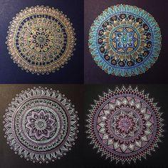 Mandalas made with gel pens! Mandala Art, Mandala Doodle, Doodle Art, Mandala Meditation, Tattoo Henna, Mandala Tattoo, Zentangle Patterns, Zentangles, Gel Pen Art