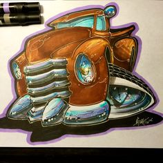 Old Chevy 3100 Truck Inking Process - Timelapse