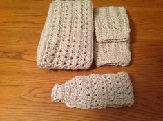 Crochet linen color cowl scarf,boot cuffs and ear warmer