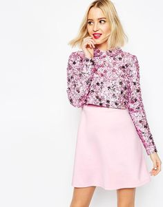 Image 1 ofASOS Premium Embellished Collar Crop Top Skater Dress With Long Sleeves