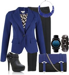 """Cobalt Blazer and Chevron Print Blouse for Work"" by trinavokes on Polyvore"