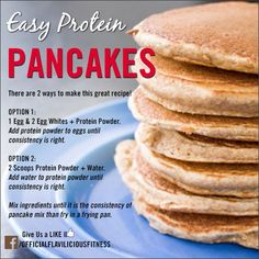 Tasty Thursday – Easy Protein Pancakes High Protein Pancake Recipe - Fitness For Women by Flavia Del Monte Protein Snacks, Easy Protein Pancakes, Protein Powder Pancakes, Protein Powder Recipes, Pancakes Easy, High Protein Recipes, Healthy Recipes, Breakfast Pancakes, Chocolate Protein Pancakes