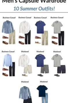 Create a Men's Capsule Wardrobe: 10 Summer Outfits - Classy Yet Trendy Capsule Wardrobe Men, Mens Wardrobe Essentials, Men's Wardrobe, Business Casual Men, Men Casual, Casual Winter, Smart Casual, Khaki Pants Outfit, Men's Pants
