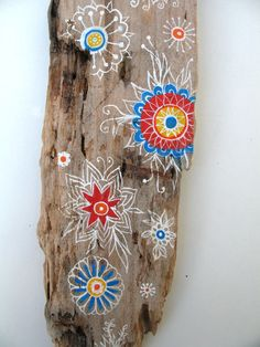 Painted Driftwood Wall Decor Hand Painted Driftwood by GeoJoyful