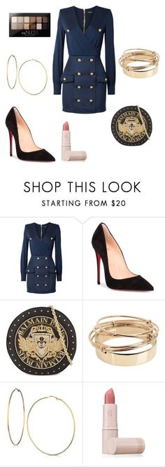 """Untitled #375"" by kaybabync on Polyvore featuring Balmain, Christian Louboutin, Valentino, GUESS, Lipstick Queen and Maybelline"