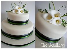 This cake was the customers own design. They even supplied the ribbons and fruit cake. Pretty Cakes, Beautiful Cakes, Wedding Cake Toppers, Wedding Cakes, Calla Lily Cake, Green Wedding Decorations, Green Cake, Big Cakes, Cake Designs