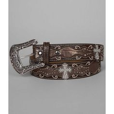 Ariat Cross Belt ($59) ❤ liked on Polyvore featuring accessories, belts, brown, brown studded belt, fake belts, embroidered belts, metallic belts and buckle belt