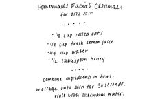 Homemade cleanser for Oily skin.  Just made and used it and face feels great.  Once a week I mix egg white and lemon juice and rub on face as a mask, then take it off...it heals pimples and pimple scares, I also use listerine as a toner (works great..google it!), and just made this facial cleanser.  My face has not been so clear in a long time!  I had no pimples as a kid/teenager, but since having kids have had a problem...this regimen works. ~Elise